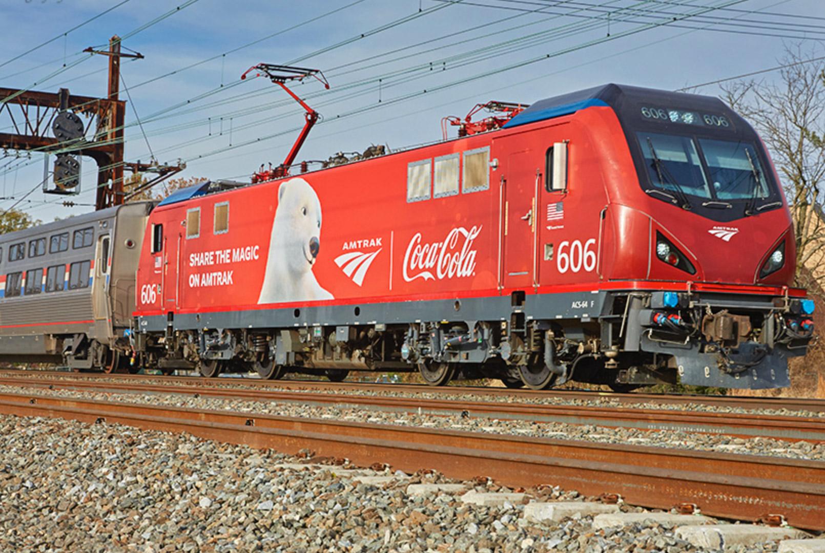 Amtrak unveils Coca-Cola decorated electric locomotive